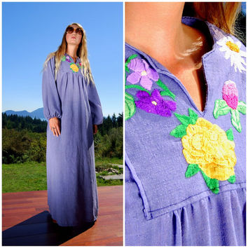 70s Hippie Dress Boho Ethnic Embroidered Maxi Dress Handmade Indian Cotton Gauze Caftan Kaftan Dress Poet Sleeves Floral Embroidery Blue