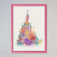 Disney Castle Poster FRAMED Watercolor Print Disney Print Art Painting Nursery wall decor