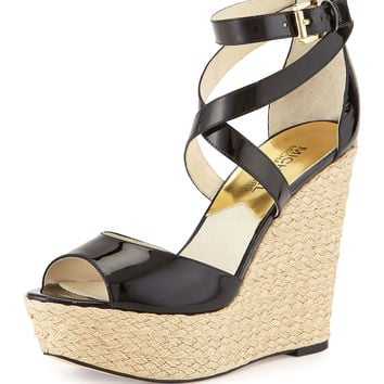 Gabriella Patent Leather Wedge Sandal, Black