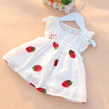 Girls baby clothes printed cotton casual dress for 2016 summer infant baby girls clothing Wedding tutu princess dresses costume