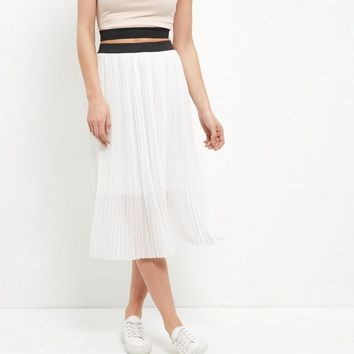 White Elasticated Waist Pleated Midi Skirt
