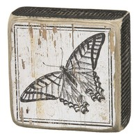 Butterfly Wooden Box Sign Art