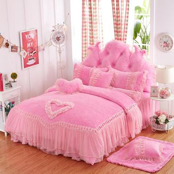 Cool Purple pink red lace princess bed cover set thick fleece winter wedding bedding set full queen king size duvet cover bed skirtAT_93_12