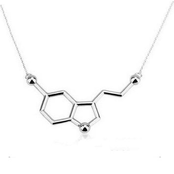1Pc New Copper Serotonin Molecule Pendant Necklace Gold Silver Plated Long Link Chain Anime Women Love Necklaces