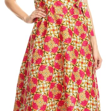 Sakkas Daliah Colorful Wax African Ankara Dutch Sleeveless Long Wrap Around Dress