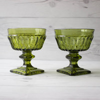 Pair of Vintage Indiana Glass Co. Mt. Vernon Green Sherbet Glasses   Made in the USA