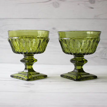 Pair of Vintage Indiana Glass Co. Mt. Vernon Green Sherbet Glasses | Made in the USA