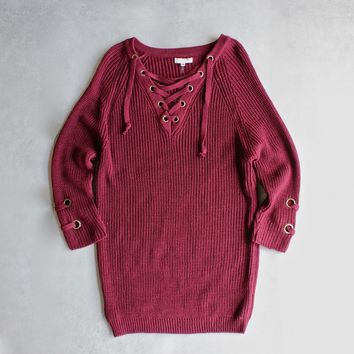 lace up grommet sweater - burgundy