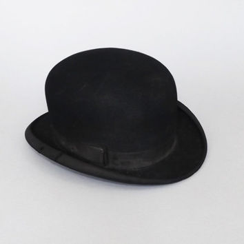 Lee Leeston 1920s 30s Men's Black Derby Bowler Hat Homburg Fedora Great Gatsby Gangster Vintage Hat Art Deco Bob Hat Hard Felt Frank & Seder