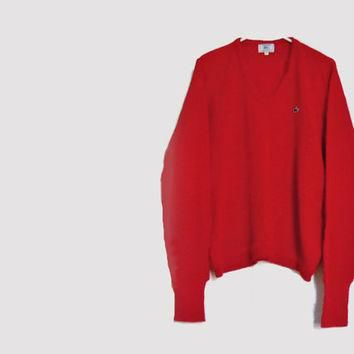 Men's Red Sweater - 1960s Vintage Izod LaCoste Alligator Pullover Sweater - Holidays