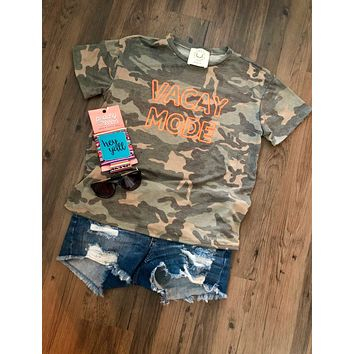 Vacay Mode Camo Short Sleeve Top