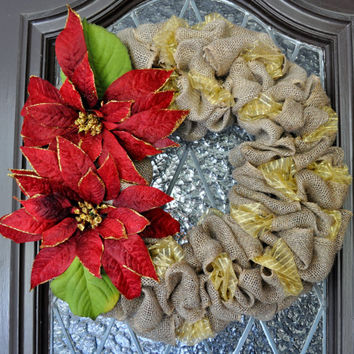 Christmas Wreath- Burlap Christmas Wreath, Holiday Wreath, Personalized, Christmas Decoration