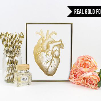 Gold Foil Print - Human Heart Gold Foil Art Print. Medical Print. Anatomical Poster. Office Decor. Modern Home Decor. Chic and Trendy.