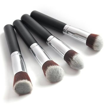Outop Professional 4 Pcs Black Synthetic Kabuki Flat Foundation Brush Single Makeup Cosmetic Brush