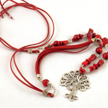 Red natural coral genuine suede boho chic necklace Tree of life tibetan silver spiral long women gift