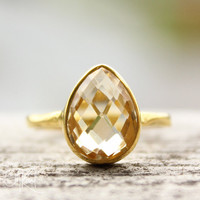 Gold Light Yellow Citrine Gemstone Ring  Stackable Ring  by OhKuol