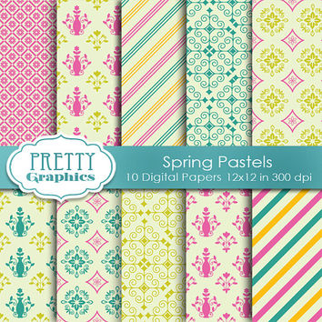 DIGITAL PAPERS - Spring Pastels - Commercial Use- Instant Downloads - 12x12 JPG Files - Scrapbook Papers - High Quality 300 dpi