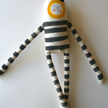 Oscar the King in Grey and Yellow - Soft Handmade Plush - Striped Painted Art Doll Hipster OOAK