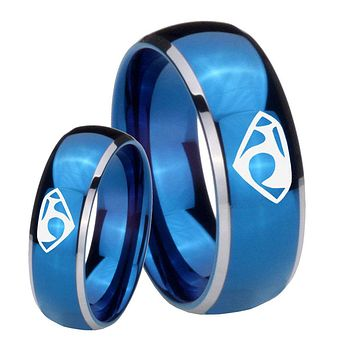 His Her Glossy Blue Dome House of Van Two Tone Tungsten Wedding Rings Set