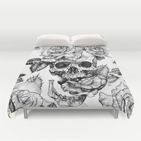 Black and White skull with roses pen drawing Duvet Cover by Sarachnid