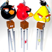 Angry Birds Wind Chimes Lot of 3 Red Yellow Black Crystal TNT Lock Patio Decor