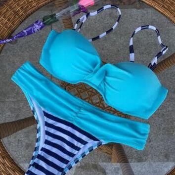 Best Quality Bikini Set 2017 Summer Low Waist Swimwear Women Sexy Bench Swimsuit Bathing Suit Push Up Biquini Brazilian
