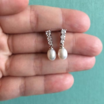 Sterling Silver Freshwater Pearl Earrings, Bridal Jewelry, Wedding, Cubic Zirconia, Dangle, Teardrop, Bridesmaids, Maid of Honor, Gift