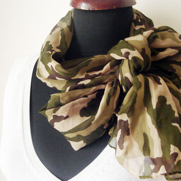 Military Scarf, Women Green Scarf, Camouflage Scarf, Viscose Scarf, Army Print Scarf, Olive green Scarf, Gift for Women, Teen girl Gifts