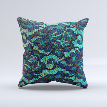 Blue & Teal Lace Texture  Ink-Fuzed Decorative Throw Pillow