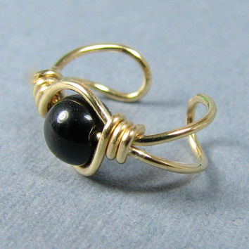 14k Gold Filled Ear Cuff Black Onyx Ear Cuff Gold Ear Cuff