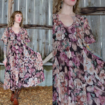 90's Floral and Lace Paneled Tent Dress
