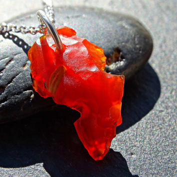 small fire opal necklace, raw opal nugget pendant, crystal pendant mexican fire opal, opal crystal necklace rough opal October birthstone