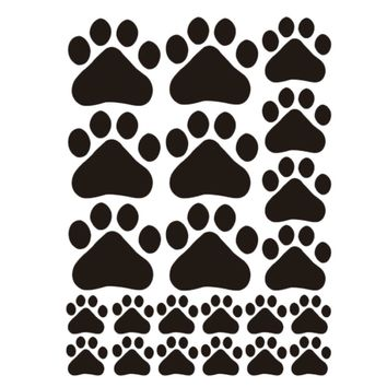 Black Dog and Cat Paw Stickers