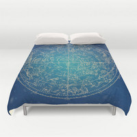 Zodiac Duvet Constellation Stars Zodiac Sign Design Dark Blue Navy Full Queen King Bed Spread