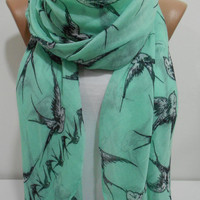 ON SALE - Bird Print Scarf Shawl Beach Wrap, Mint Green Cowl Scarf Pareo, Swallow Oversize Scarf, Cotton Scarf, Gift For Her, MiracleShine