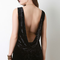Crushed Velvet Open Back Mini Dress