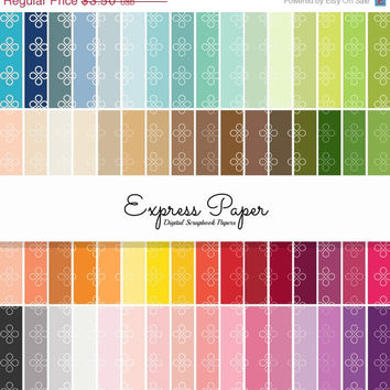 SALE 64 Teardrop Flower Pattern Digital Papers- 12x12 and 8.5x11 included-Digital Paper Rainbow includes dark, bright, neutral and pastel co