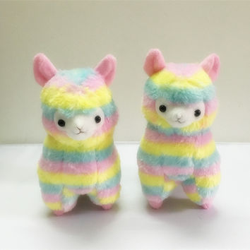 AUTOPS 17cm Rainbow Alpaca Vicugna Pacos Plush Toy Japanese Soft Plush Alpacasso Baby Plush Stuffed Animals Alpaca Child Gifts