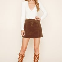 Corduroy Lace-Up Mini Skirt