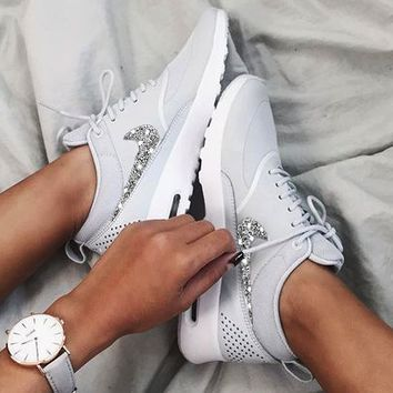 NIKE Air Max Thea Trending Diamond Women Men Shining Sequin B-H-RYXM-SF White+Silver hook