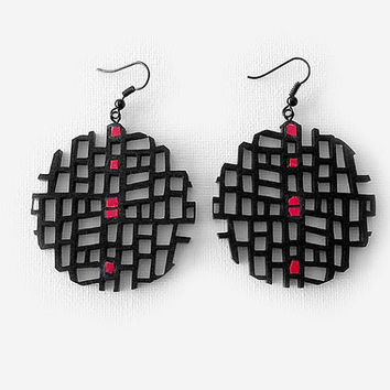 Earrings, contemporary jewelry design, FREE Shipping, modern, unique, handmade, lasercut wood, polymer clay, black steel