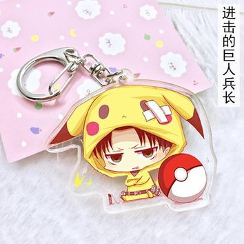 Cool Attack on Titan 6 type Anime Cartoon Keychain  Eren Levi Pikachu Cute Acrylic Keyring Charm Cosplay Anime Exhibition Jewelry gift AT_90_11