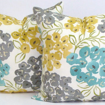 TEAL.GRAY. Yellow.PILLOW.16x16 inch.Housewares.Pillows.Flowers.Home Decor.Floral Slipcovers.Turquoise.Gold.Yellow.Gray.Cream.Green.Teal.Cm