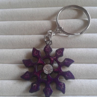 Closing sale - dark purple star  stainless steel  silvertone  charm pendant keychain keyring