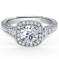 """Kirk Kara """"Carmella"""" Cushion Halo Round Cut Diamond Engagement Ring Featuring 0.45 Carats Round Diamonds in 18kt White Gold with Hand Engraved Details"""