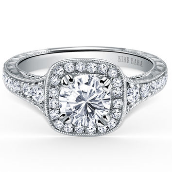 "Kirk Kara ""Carmella"" Round Cut Cushion Halo Diamond Engagement Ring"