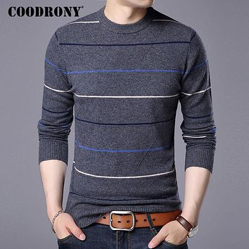 COODRONY Sweater Men 2017 New Autumn Winter Warm Cashmere Pullover Men Casual Stripe O-Neck Pull Homme Merino Wool Sweaters 7312