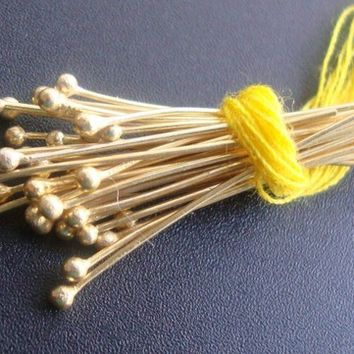 50pcs, 28g ga gauge, 30mm 1.25 Inch, Bali 24K Vermeil over Sterling Silver Ball End Headpins