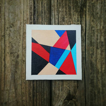 Modern Geometric Canvas Art Original Contemporary Tiny Canvas Painting Abstract Minimalist Wall Art Fine Art Home Decor