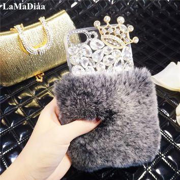 Bling Fluffy Rabbit Hair Rhinestones Glitter Cover Fur Case For iPhone X 10 6 6S 6Plus 7 8 Plus luxury Diamond Crown Phone Case